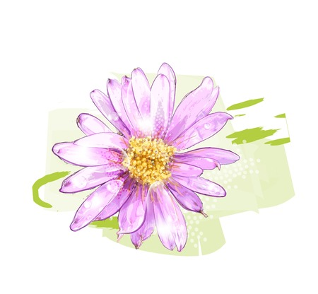 watercolor flower: pink flower with dew drops