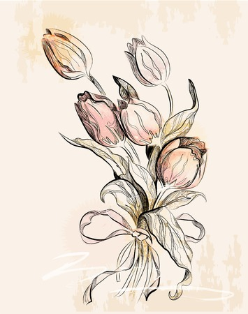 hand drawn flower: vintage greeting card with tulips