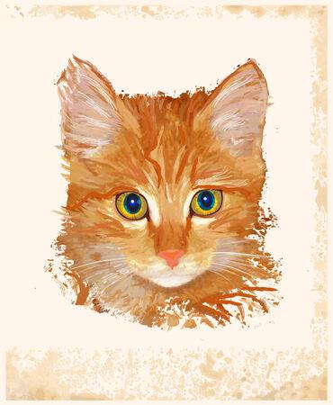 purr: vintage portrait of ginger cat