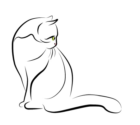 purr: outline illustration of sitting cat