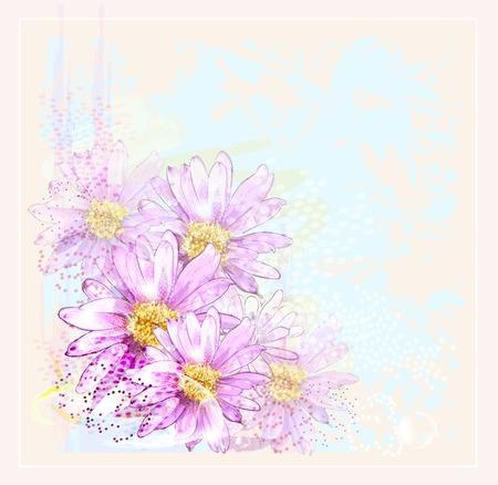露の滴とピンクの花  イラスト・ベクター素材