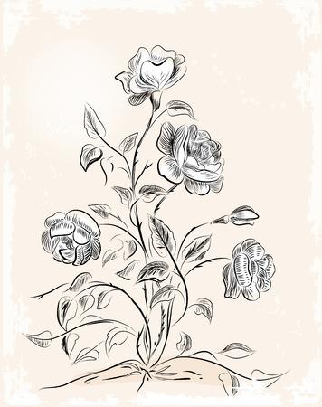Vintage wenskaart met rozen Stock Illustratie
