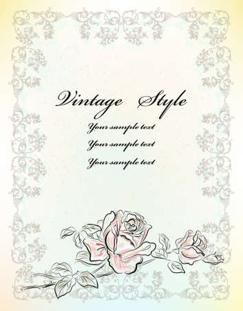 vintage greeting card with rose Stock Vector - 9176591
