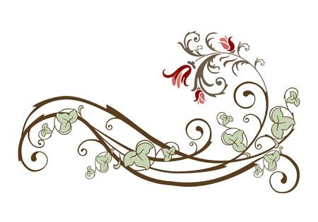 elemento di design vintage con fiori ed edera Vettoriali