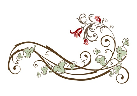 vintage design element  with flowers and ivy Vector