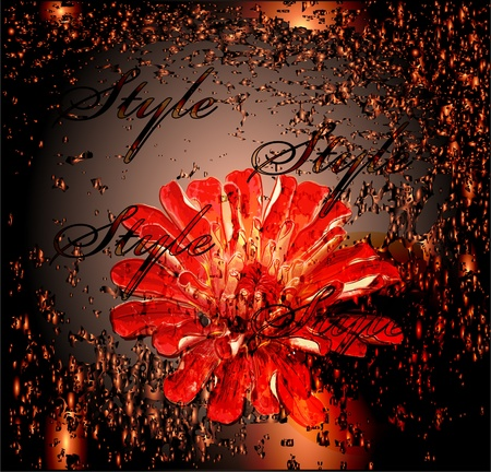 metal composition: abstract glowing background with red flower.