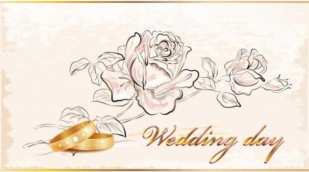 Vintage wedding card. Stock Vector - 9247027
