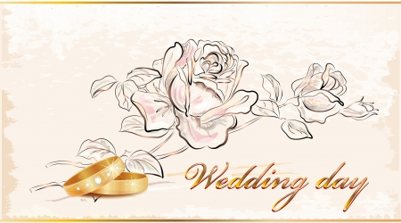 curlicue: Vintage wedding card.  Illustration