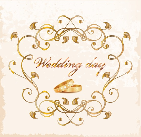 golden ring: Vintage wedding card. Illustration