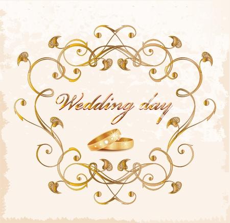 Vintage wedding card. Stock Vector - 9247024
