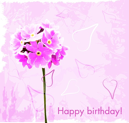 happy birthday card with pink flowers Ilustrace