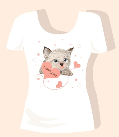 tank top: t-shirt design for children with kitten and hearts Illustration
