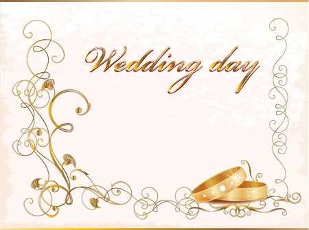 Vintage wedding card with rings. Illustration