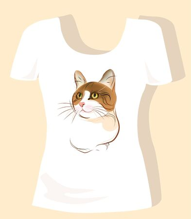 tank top: t-shirt design  with ginger cat Illustration
