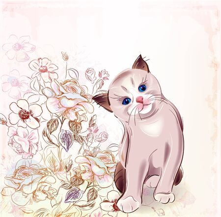 flowers cat: birthday card with thai kitten and roses.Watercolor style.