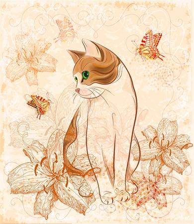 猫とユリのヴィンテージ誕生日カード。  イラスト・ベクター素材