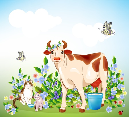 Country life. Cat, kitten and cow Vector
