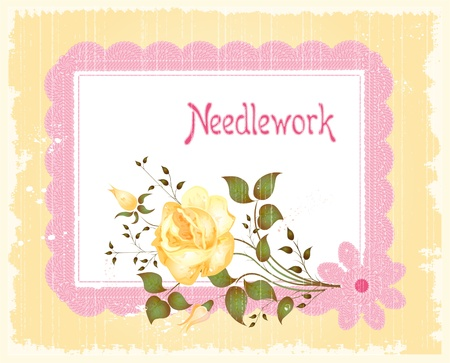 vintage lacy frame and rose Vector