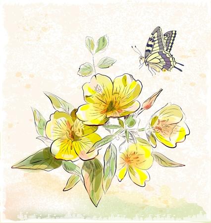 gele veld bloemen en vlinder Stock Illustratie