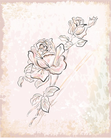 vintage greeting card with roses Illustration