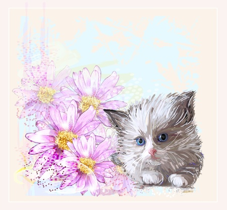birthday card with  little fluffy kitten and gerberas Vector