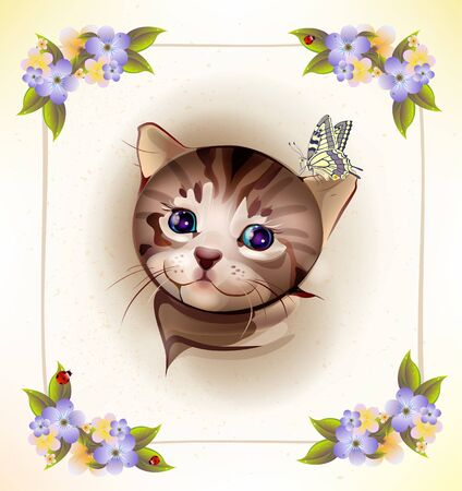 birthday card with  little tabby kitten and butterfly Vector