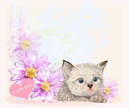 greeting card with  little fluffy kitten and gerberas Vector