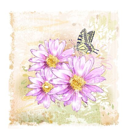 pink field flowers and butterfly