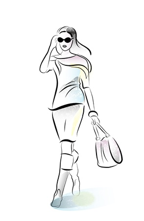 shopping girl with bag Vector