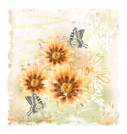 yellow field flowers and butterflies  イラスト・ベクター素材