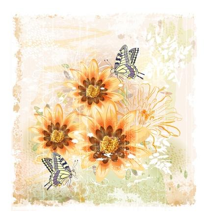黄色のフィールドの花と蝶