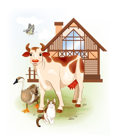 husbandry: Country life.  Farm animals. Cow, cat and goose. Illustration