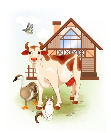 Land leven. Boerderijdieren. Koe, kat en gans. Vector Illustratie