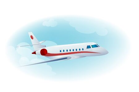 takeoff: passenger airplane in the cloudy  blue sky