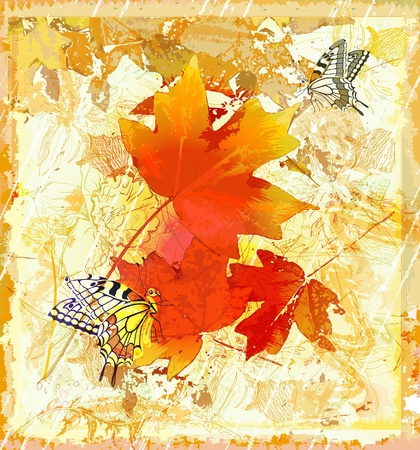 interweaving: autumnal  grunge background with  red maple leaves and butterflies Illustration