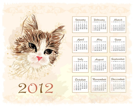 vintage style calendar 2012 with cat Vector