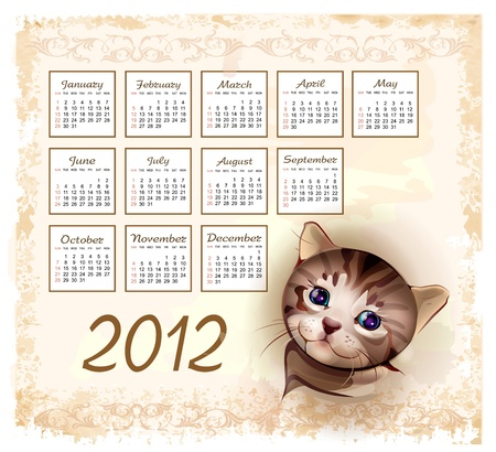 vintage style calendar 2012 with tabby kitten Vector