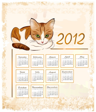 vintage calendar 2012  with ginger tabby cat Vector