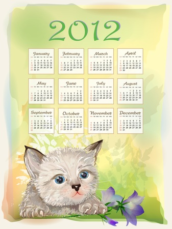 Childish calendar 2012.  Little fluffy kitten playing with bluebell. Watercolor style. Stock Vector - 10400885