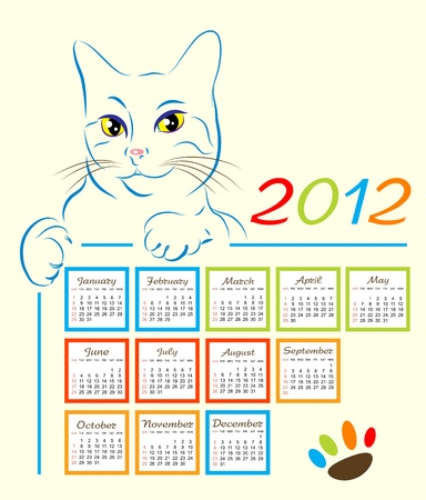 cat showing calendar design 2012 Vector