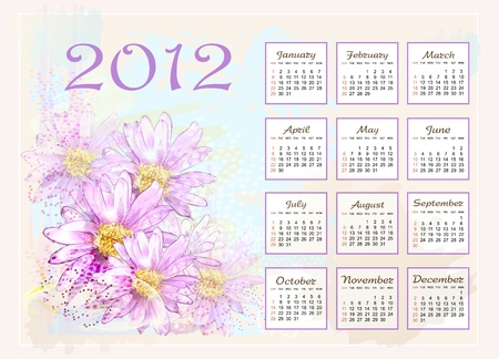 calendar 2012  with pink flowers Stock Vector - 10422167