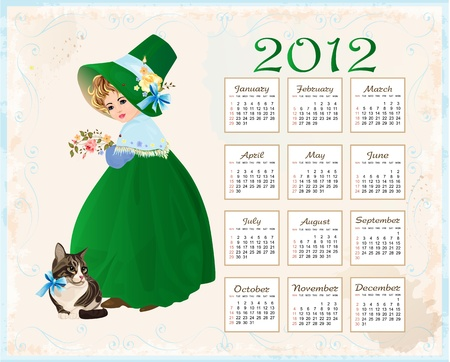 vintage  style  calendar 2012 with cat and girl Stock Vector - 10422165
