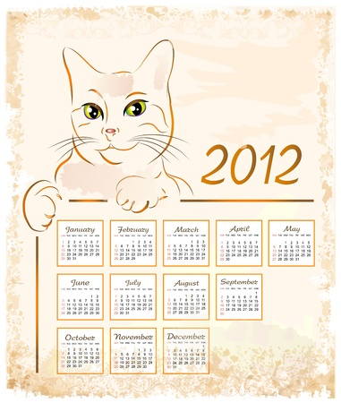 cat showing  vintage calendar 2012 Vector