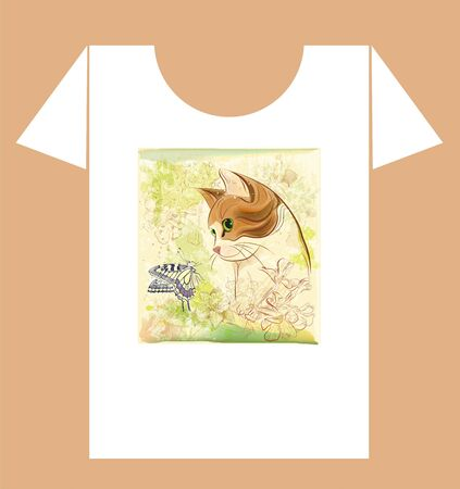 childish t-shirt design with cat and butterfly Vector