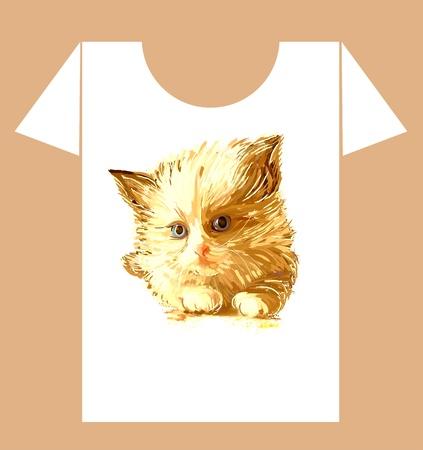 t shirt print: childish t-shirt design with  ginger fluffy kitten Illustration