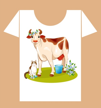 childish t-shirt design with  happy cow and cat Illustration