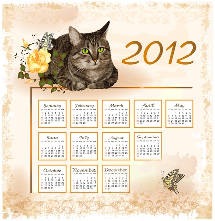 vintage calendar 2012 with cat Stock Vector - 10504043