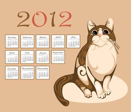 calendar 2012 with tabby cat Vector