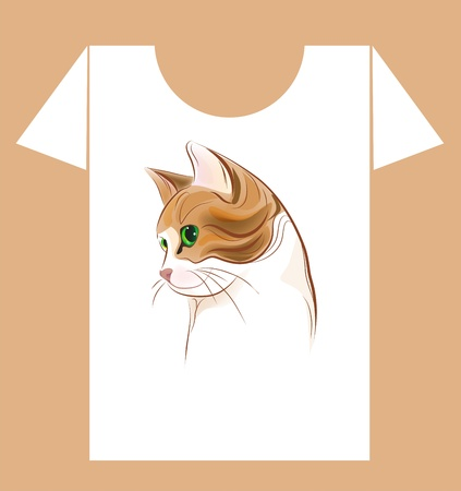 t-shirt design with  ginger cat  Vector