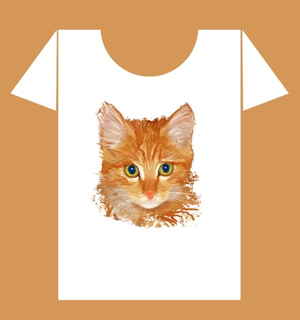 childish t-shirt design with  happy cow and cat Vector